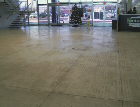 Just like with any flooring, entrance mats can also help to preserve the appearance