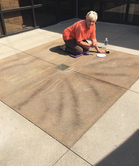 """Victoria Morgan Simpson, owner of Capitol Decorative Concrete in Piedmont, South Carolina, has been in the concrete business 28 years and is still enjoying the adventure. """"What I love most about my work is that the 'process' may always be the same but every job is a one of a kind,"""" she says."""