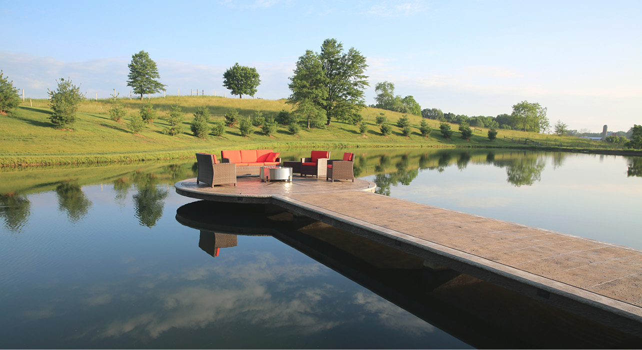 The pier and dock, which sit about a foot above the surface of a 2-acre pond in Keim's backyard, was fashioned with Proline form liners, stamps and texture mats and built with an array of products largely from Deco-Crete Supply.