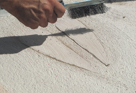 A specialized surface retarder was used to keep the cream of the concrete from setting over the glass aggregate.