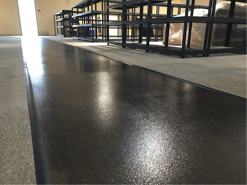 waterproofed with Kretus Top Shelf Epoxy MVR-FC (Moisture Vapor Reducer, Fast Cure) to comply with ASTM F3010, the standard practice for two-component resin-based membrane-forming moisture mitigation systems for use under resilient floor coverings.