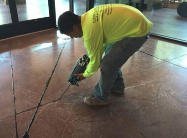 putting down joint filler on a commercial floor