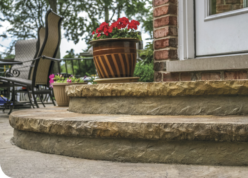 Butterfield Color has developed a product that allows users to form cantilever steps and then texture the entire step as part of the pour, rather than having to strip the form from the front of the step and run the risk of having it slump. Photos courtesy of Butterfield Color