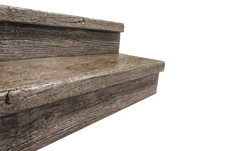 Creating texture for the front of steps is easy with a multiuse urethane liner that fits in the concrete form.