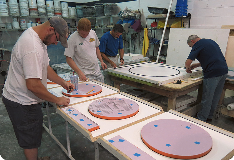 For production casting, plastic is just one of several materials that offer consistency, quick cleaning and assembly. Photo courtesy of The Concrete Countertop Institute