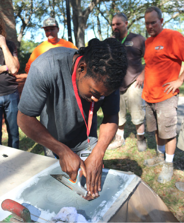 Those interested in learning new skills need to partake in hands-on workshops, such as those offered at the recent Concrete Decor Show in Florida. Part of this one featured the use of stencils.