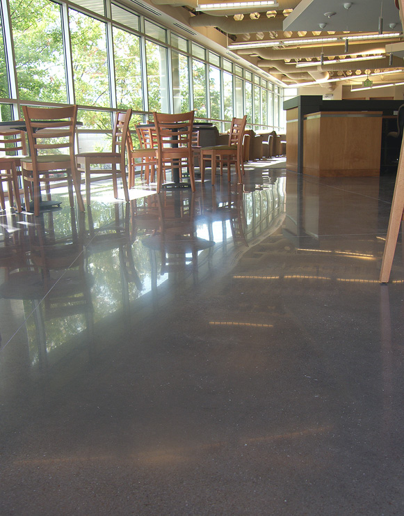 A mechanically polished floor that's done properly will have reflections that are crisp and clear.