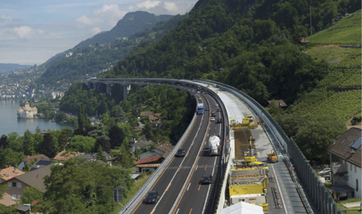 Road repair by Chillon Viaducts in Veytaux, Switzerland aci winner
