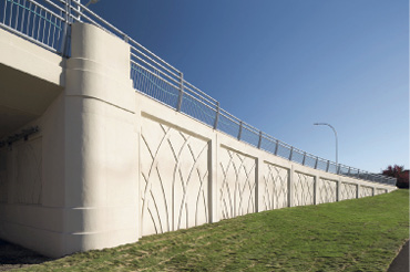 Winona Bridge in Winona, Minnesota, features beautiful concrete walls