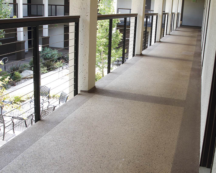 Empire Waterproofing worked on this decking at the Kellogg West Hotel and Conference Center at Cal Poly Pomona in California and finished it by applying Westcoat's Texture-Crete custom system with a multicolored spray texture finish. Photo courtesy of Westcoat Specialty Coating Systems