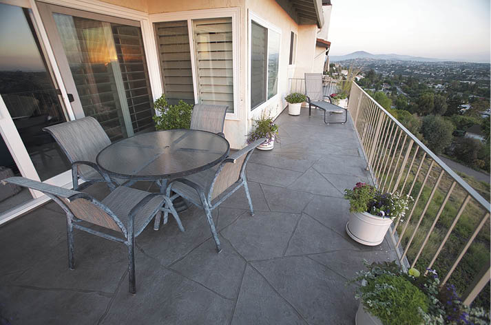 This residential deck in San Diego, California, features Westcoat's ALX Custom Flagstone finish waterproofing system. Photo courtesy of Westcoat Specialty Coating Systems