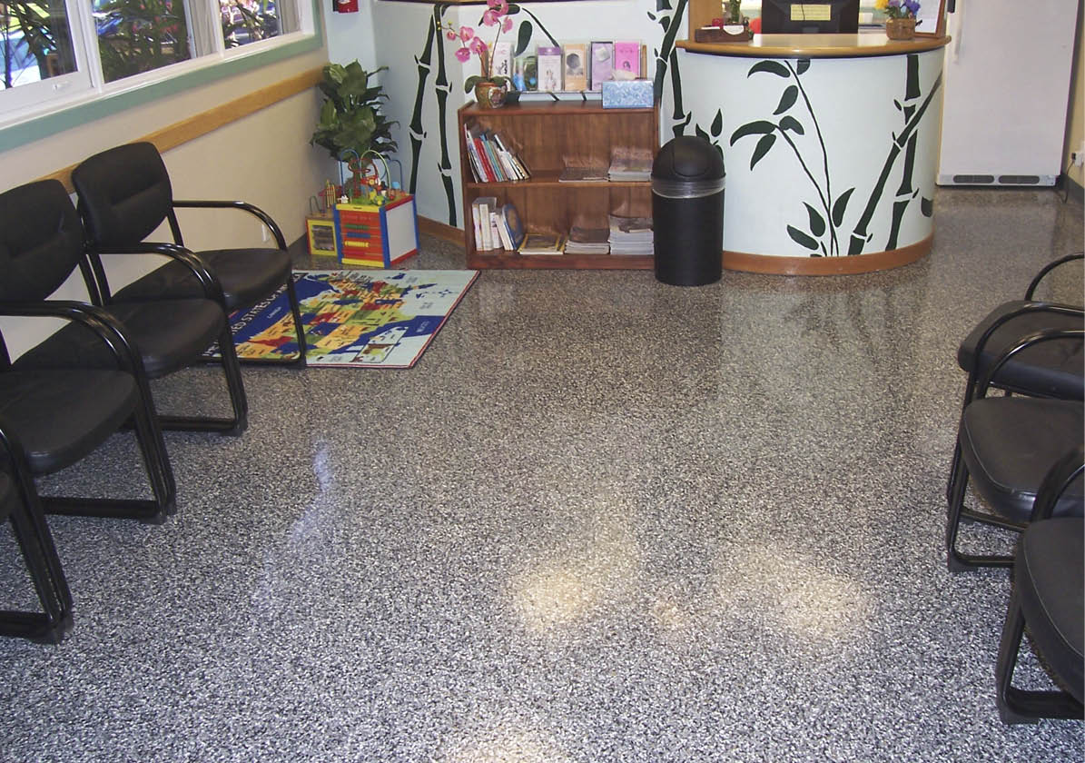 It may look like a terrazzo floor, but it's really a high-performance epoxy option that utilizes embedded vinyl flakes for that high-end look. Photo courtesy of Increte