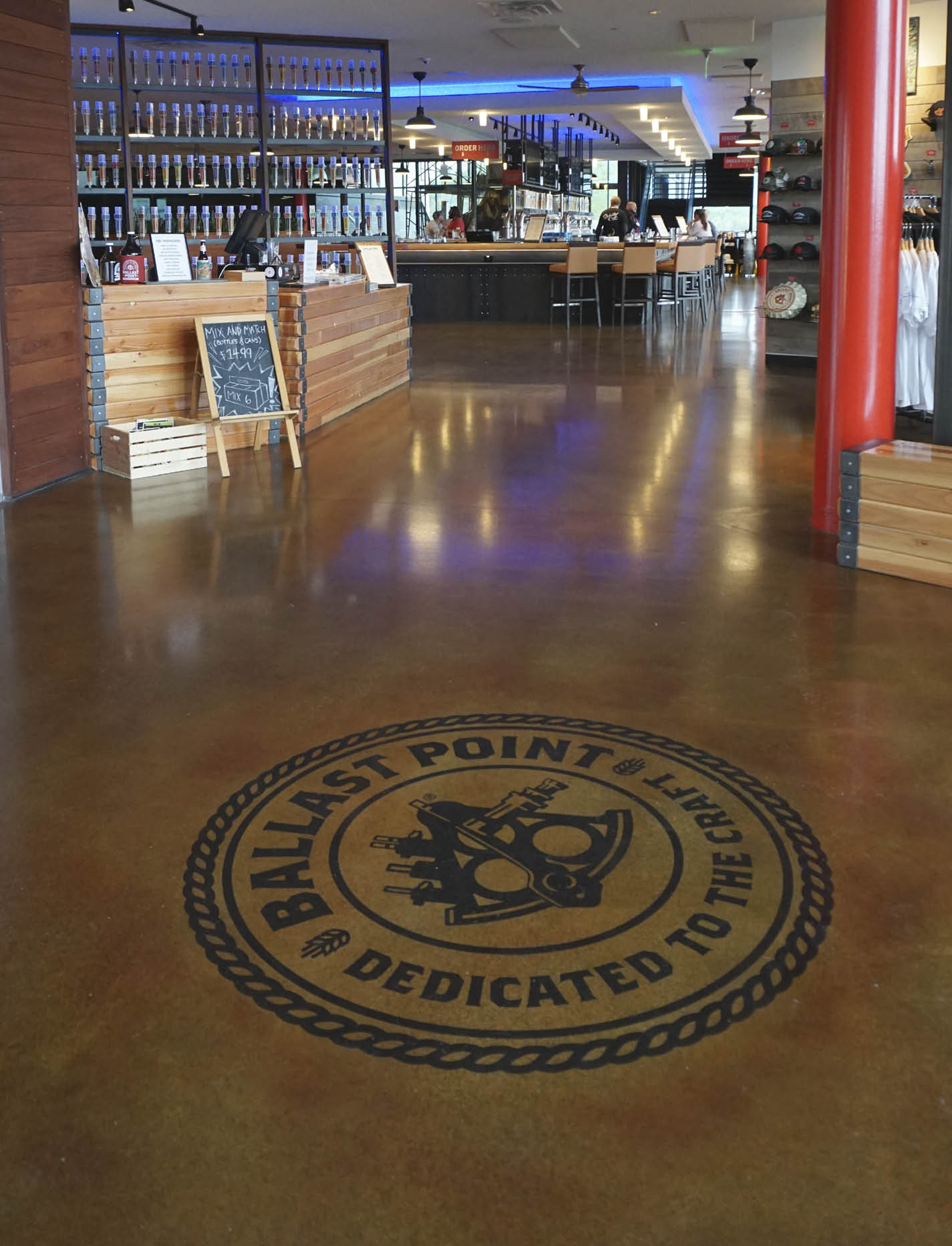 A urethane coating on this brew pub floor ensures durability,  despite the likelihood of heavy carts and hot water being used on it.  Its good looks and the ability to include the company's logo are bonuses. Photo courtesy of Increte