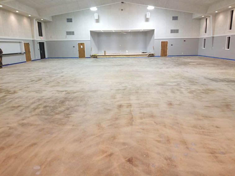 An epoxy proved to be a good choice for this gym floor given its indoor location and foot traffic. A good product choice and a good application also make a world of difference between the before-and-after images. Photos courtesy of Increte