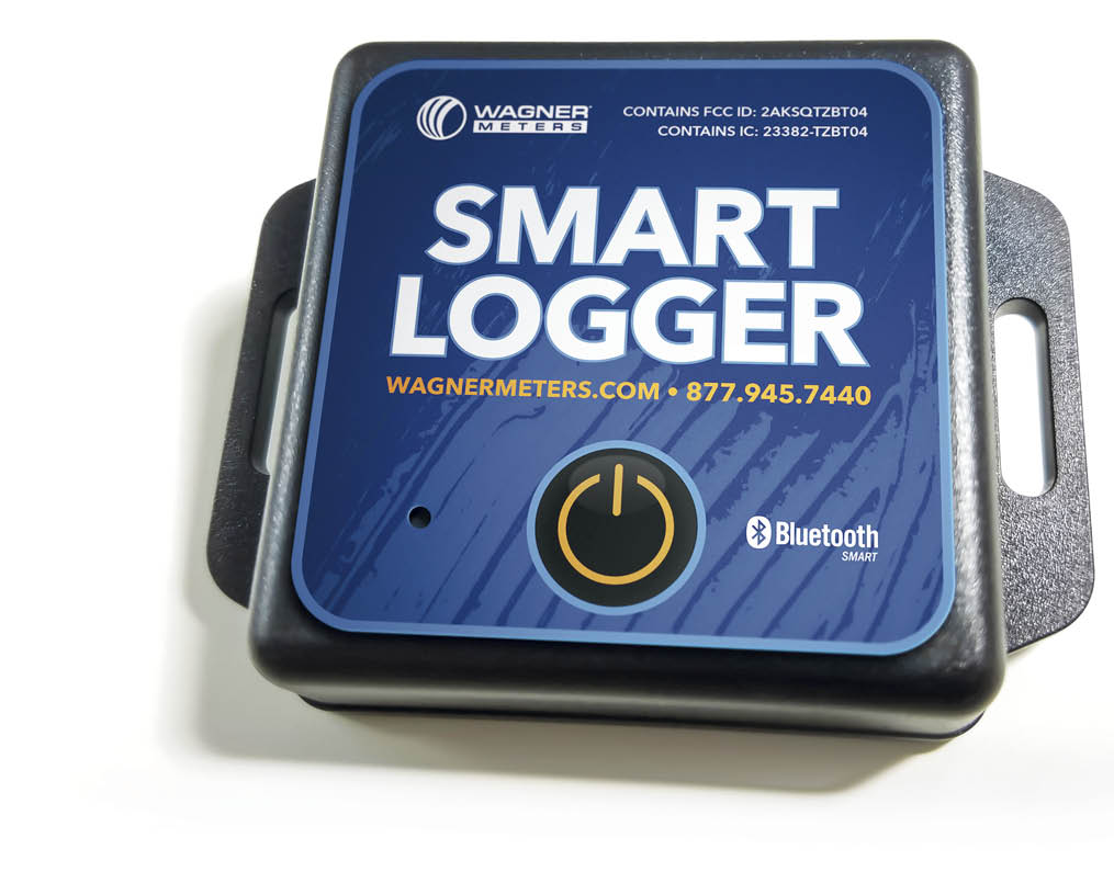 The Smart Logger from Wagner Meters tracks and documents ambient temperature and relative humidity conditions discretely and constantly, even when the contractor is away from the job site. Photo courtesy of Wagner Meters