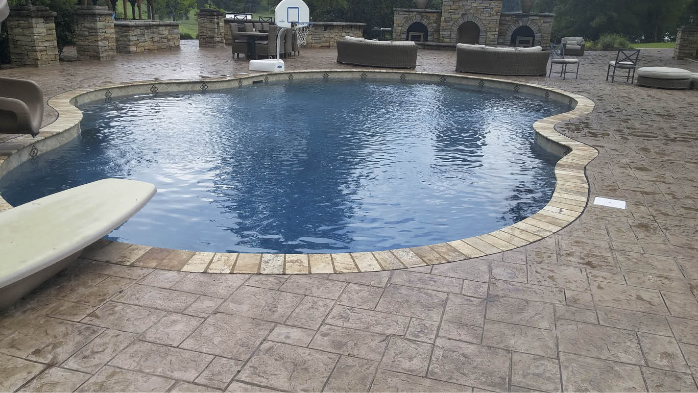 Integral color is an ideal choice for residential projects such as pool decks. Photo courtesy of Alabama Decorative Concrete