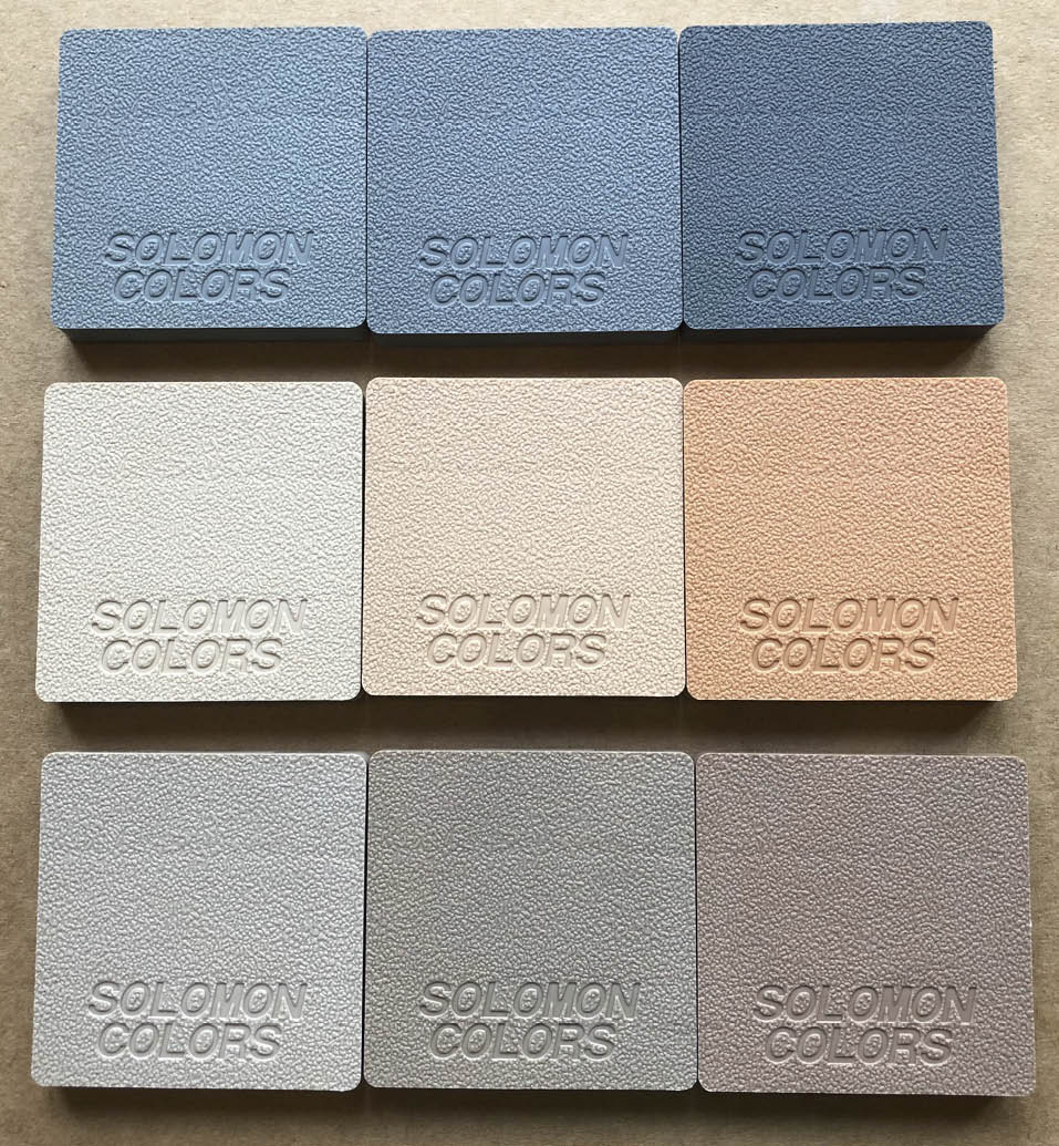 Examples of 1%, 2% and 4% loading. Top row: Slate, Smoke and Onyx. Middle row: Desert Tan, Salmon and Peach Bottom row: Canvas, Toffee and Cinnamon.