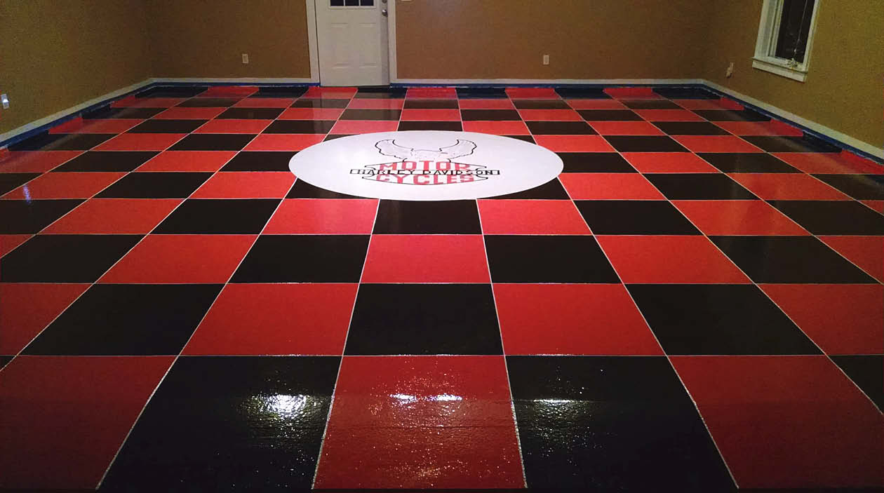 Black and red checker board concrete floor.