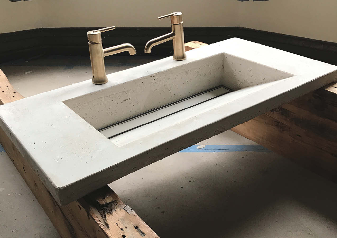 Aldo Buffone, a contractor in New York who has been renovating lofts in the city, credits much of his decorative concrete success to NForce-Pro, a fiber he's been using in his mixes to craft sinks, countertops and shower panels. The mix used for this sink was made with a cement ratio of one part white portland cement, two parts white sand and a generous amount of hemp fiber.