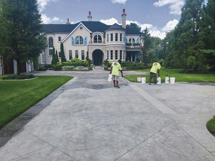 One of the alluring traits of penetrating water-based sealers is their ease of application. Simply pour the liquid into a low-pressure pump and spray the concrete surface you want to seal. When you're done, you clean up with water.