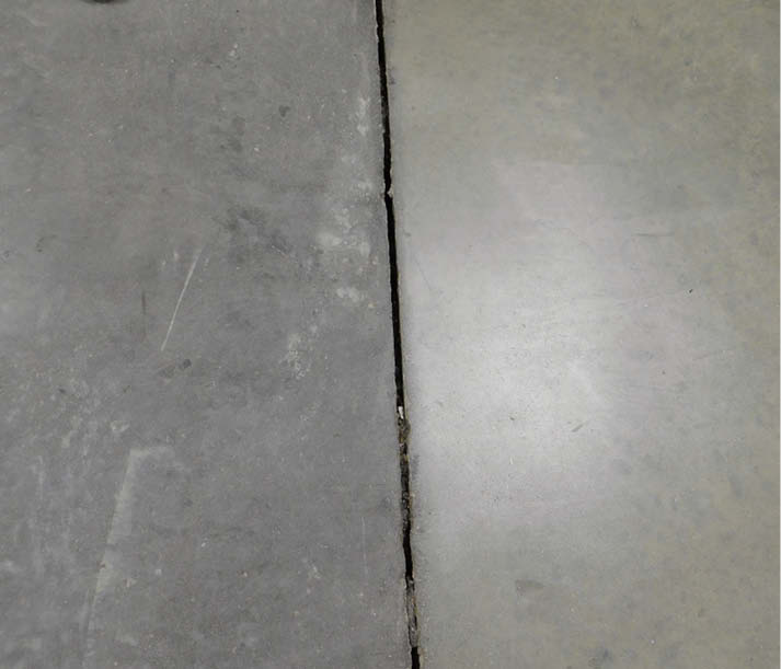When placed next to each other, concrete containing different cements has lighter and darker tones.