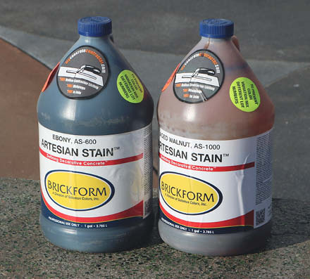 2 bottles of Brickform stain that was used throughout the space
