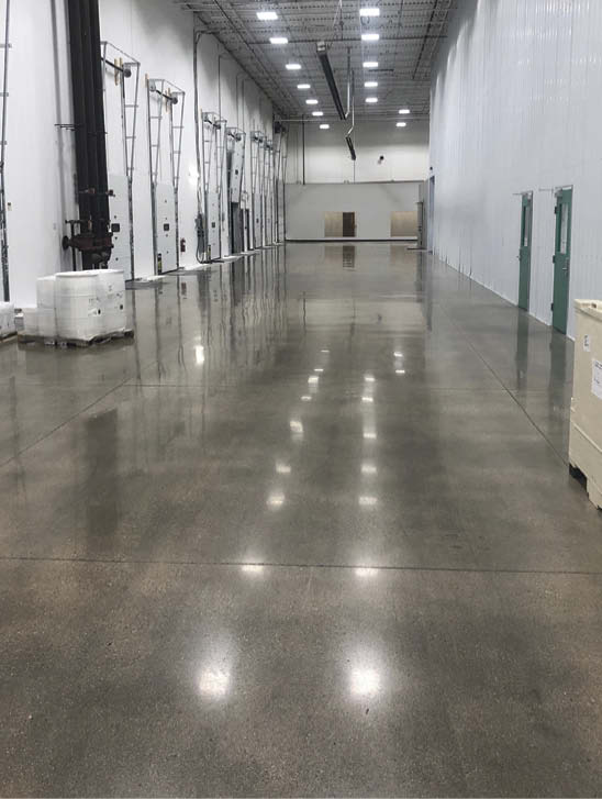 Autoscrubbing keeps this polished concrete floor looking like new. Doing so regularly increases the floor treatment's longevity.