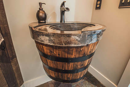 Drawing inspiration from the tiered vineyards in Italy and France, Mike Hearn, owner of Artisan Elements in Jasper, Georgia, has made this wine-country sink many times.