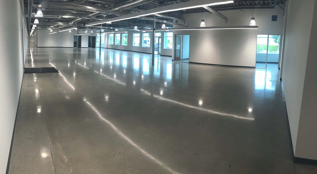 Large concrete polished warehouse space.