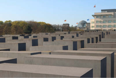 "Originally conceived to contain 4,000 rectangular blocks of concrete, also called ""stelae,"" the memorial was scaled down to 2,711."