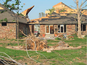 An example of storm damage to residential real estate. Photo courtesy of Fox Blocks