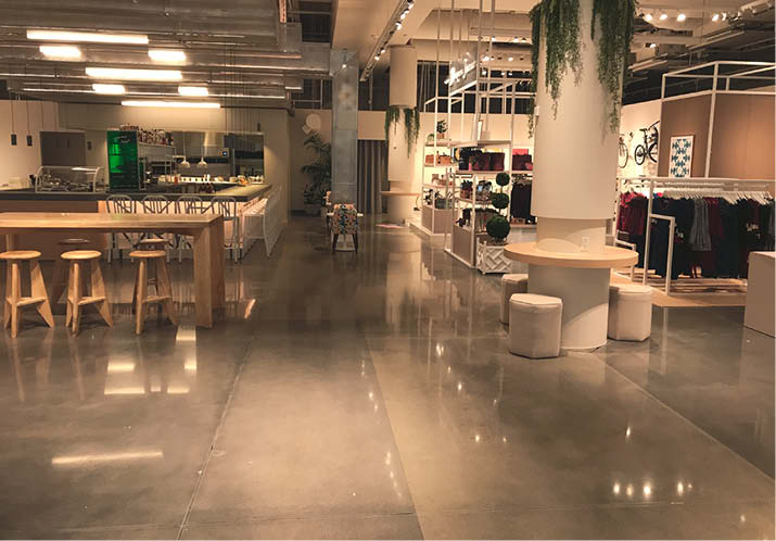 Decorative Concrete installation at Neighborhood Goods in Plano, Texas. Photos courtesy of Johnson & Sons