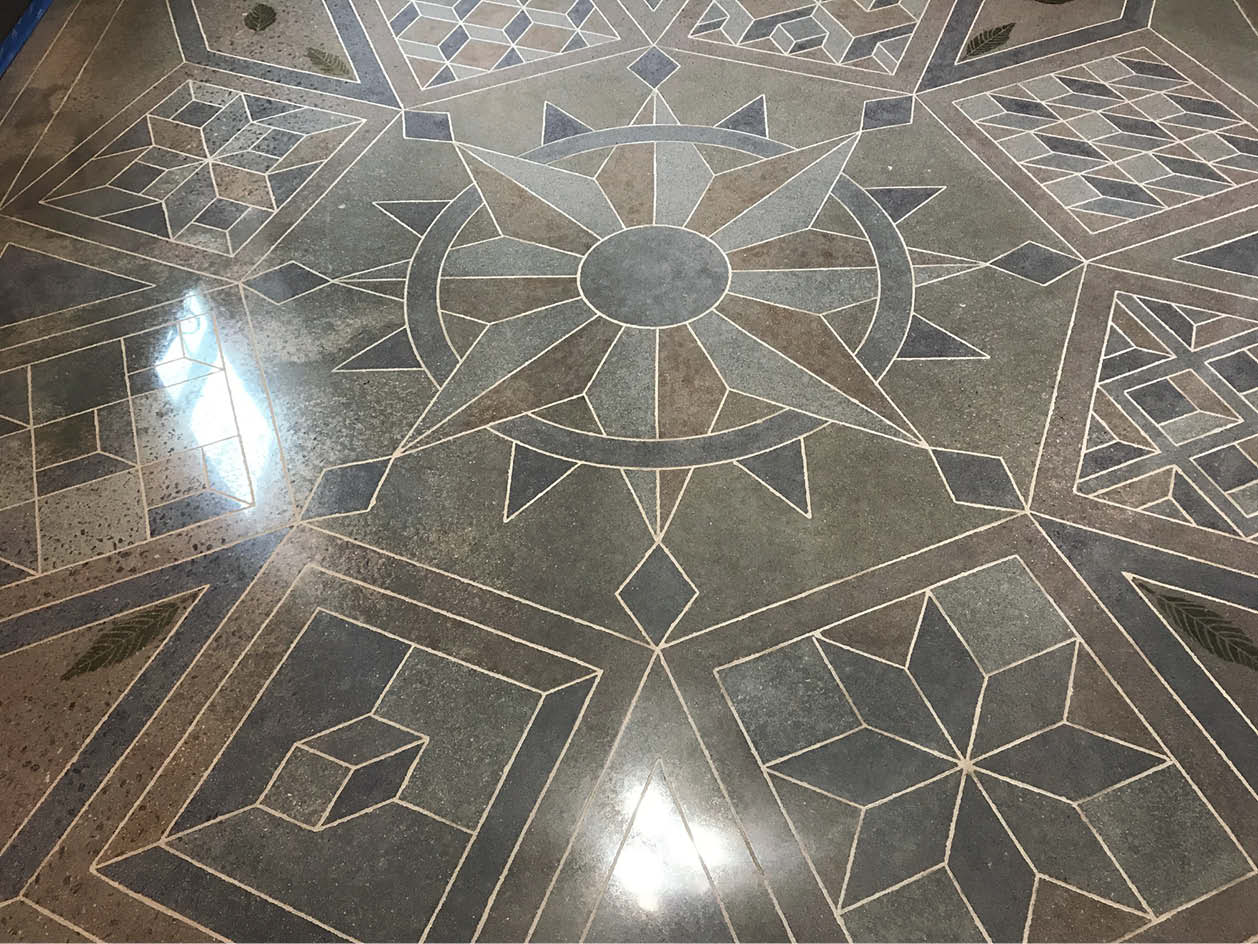 The office and warehouse floors feature Venetian-inspired 3-D designs. All designs were cut free-hand with a 4-inch grinder.