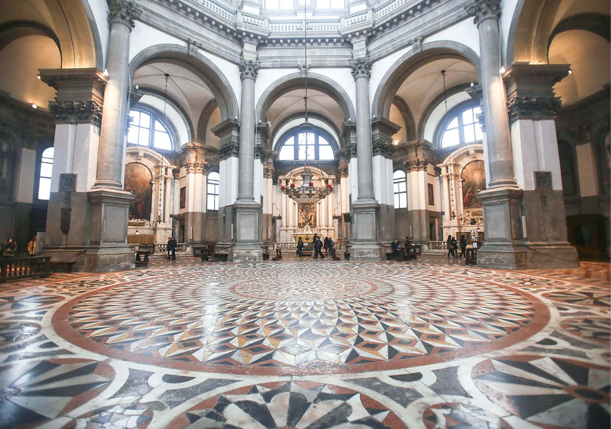 At the center of the Santa Maria della Salute, beneath a high octagonal dome, a dazzling geometrically patterned floor made with inlaid marble captured the attention of decorative concrete specialist Bob Harris and his wife, Lee Ann.