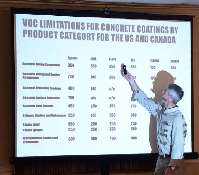 Chris Sullivan of ChemSystems teaches about VOC limitations for concrete coatings by product category.