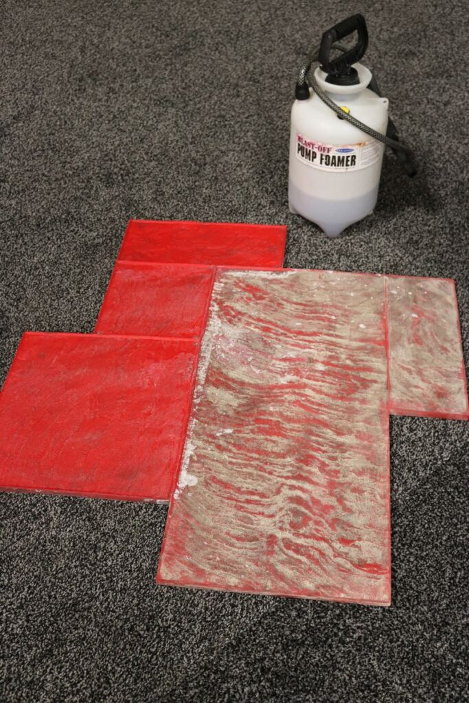 Nox-Crete was showing off Blast-Off, a tried-and-true fast-acting concrete remover that's superb for cleaning texture skins and stamps.