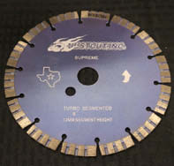JustCut's extremely fast-cutting 8-inch turbo segmented blade produces smooth lines for concrete sawing and works efficiently at cleaning out joints.