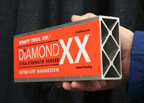 Kraft Tool's Diamond XX magnesium screed features reinforcement throughout the length of the tool to maintain straightness in demanding applications.