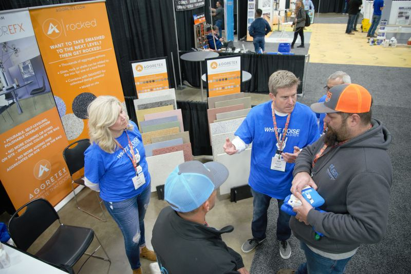 AggretexSC was among a handful of exhibitors that launched new products at the show. The high-end flooring company debuted its newest polishable overlay, RazzoEFX, which includes several SKUs with glass premixed in the bag.