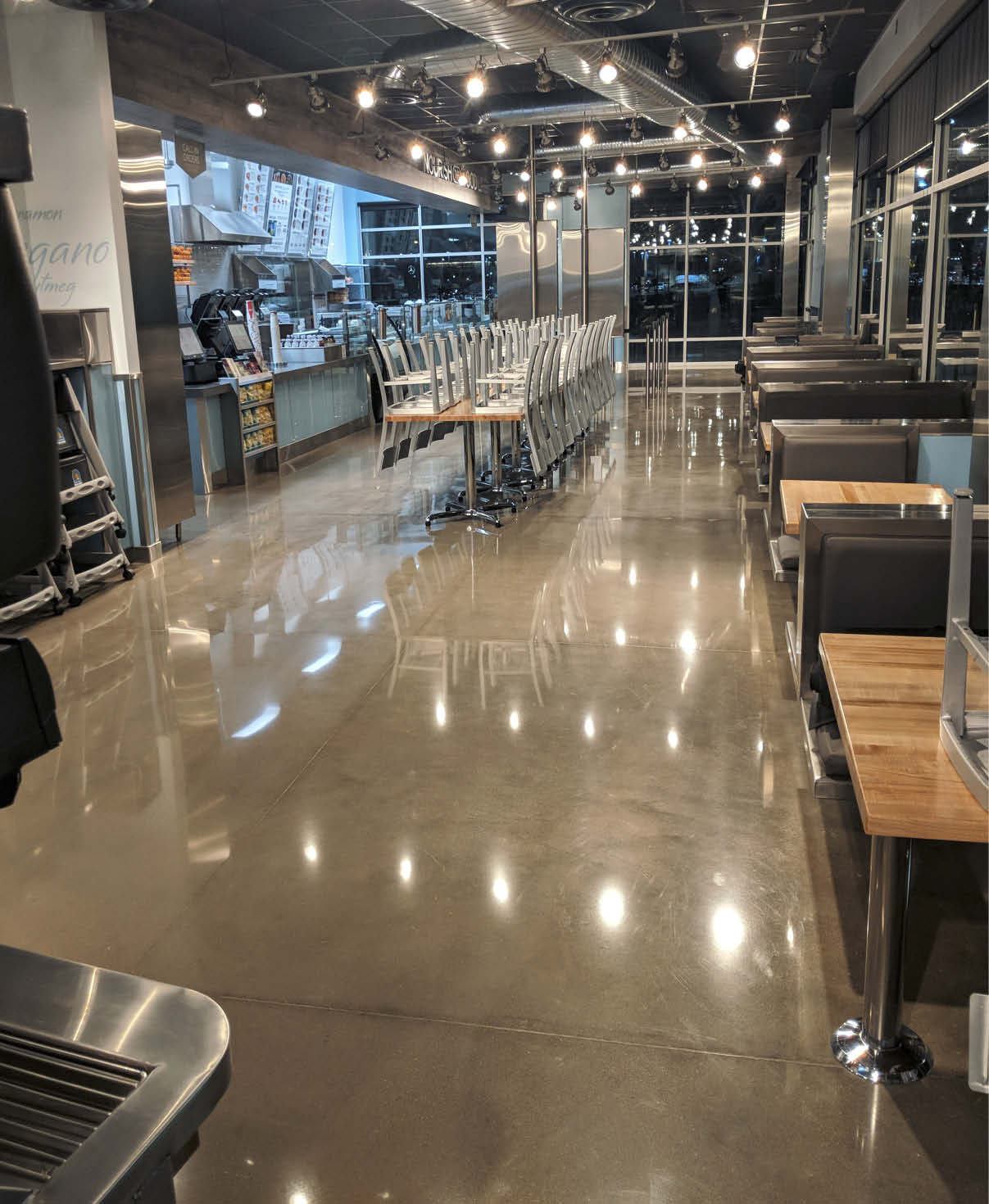 Cafe Zupa with polished concrete floors - set up polished concrete maintenance to ensure it looking good for the long term