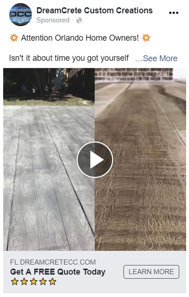 An example of an ad that will create Leads from Facebook