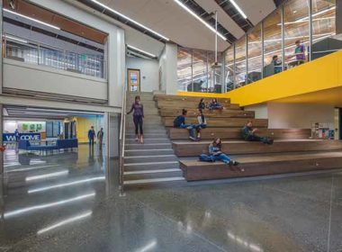Polished concrete is easy to maintain and is durable in high traffic areas.