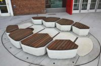 Concrete benches on an outdoor patio