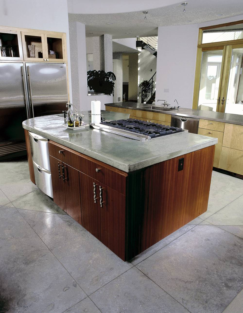 Kitchen island with a concrete countertop