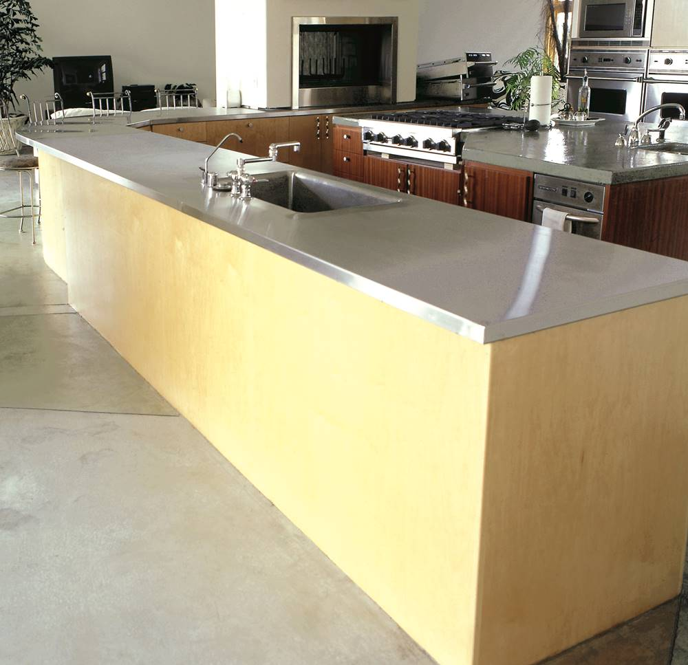 Gray concrete countertop in a kitchent
