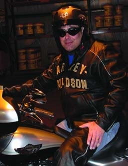 Bart Sacco, concrete contractor extraordinaire, on his Harley Davidson motor cycle.