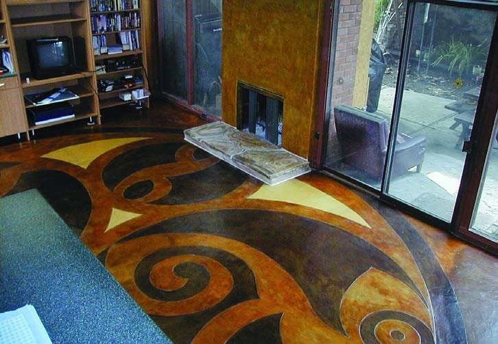 Swirling stained microtopping in a living room with radiant heat coils under neath.