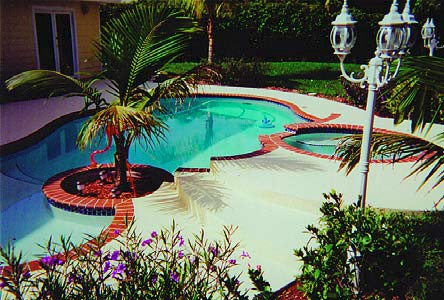 This backyard oasis has been transformed and it started with the restoration of a failing pool deck.