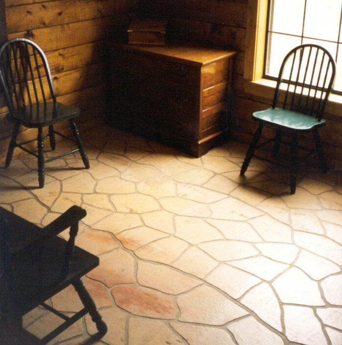 There is a pattern with stenciled concrete and it is important to make the lines clean and consistent during application or that pattern is obvious.