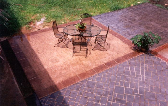 Outdoor patio with stenciled concrete showing how you can merge two different patterns of stencils for a intricate look.